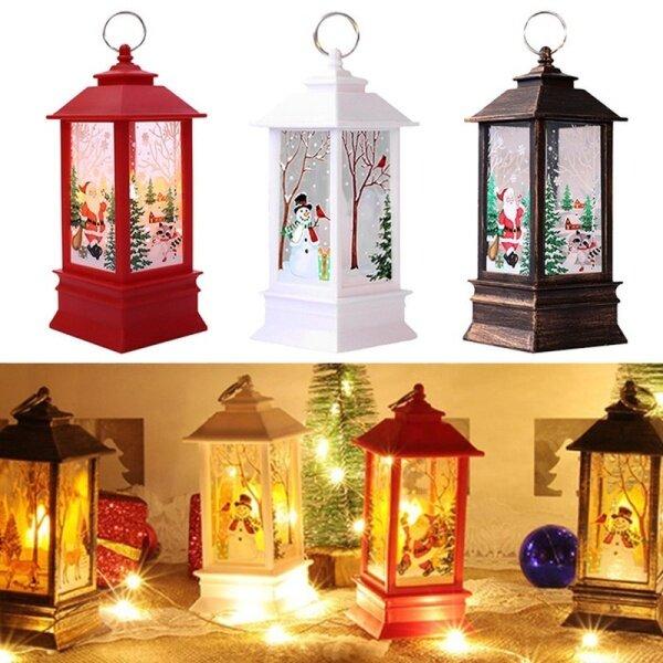 【Làm Đẹp-Sunshine】đèn Ngọn Lửa Giáng Sinh Cổ Điển, Đèn Lồng Treo Đèn Ngủ Hình Người Tuyết Trang Trí Nội Thất Giáng Sinh, Chạy Bằng Pin