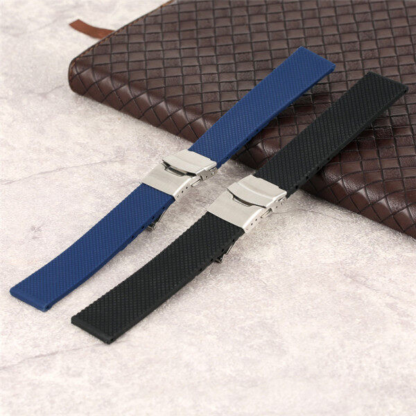 AIKEN 20/22/24mm Black/Blue Rubber Band Silicone Strap Waterproof Wristband Replacement Bracelet Malaysia