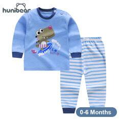 [Hunibear] Bé Sơ Sinh Cậu Bé Cô Gái Đồ Lót Đặt Bé Homewear Pajama Phù Hợp Với 0-6 Tháng