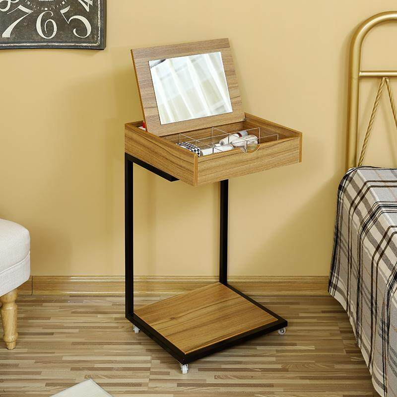 Dress Table with Foldable Mirror, Seperated Drawer, Organizer Makeup Dressing Table with Wheels, Easy to Move, Gift for Mom