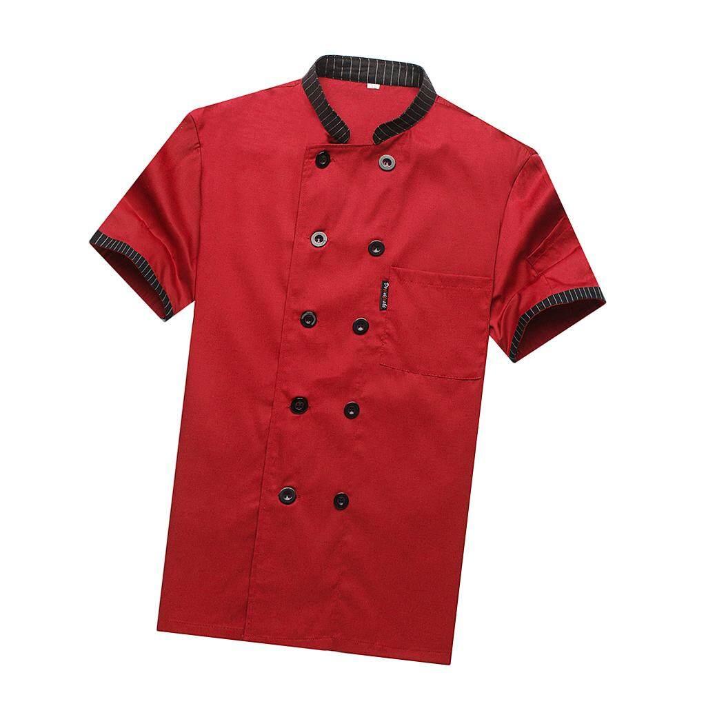 Blesiya Chef Jacket Tops Striped Short Sleeved Restaurant Hotel Uniforms Work Wear