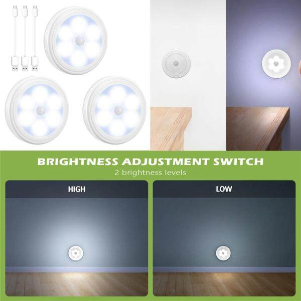 [NEW] ORIA Motion Sensor Light 3 Modes Rechargeable LED Night Light with USB cable Auto/On/Off Step Lights Wall Light for Hallway Closet Stairs Bedroom (Pack of 3 White)