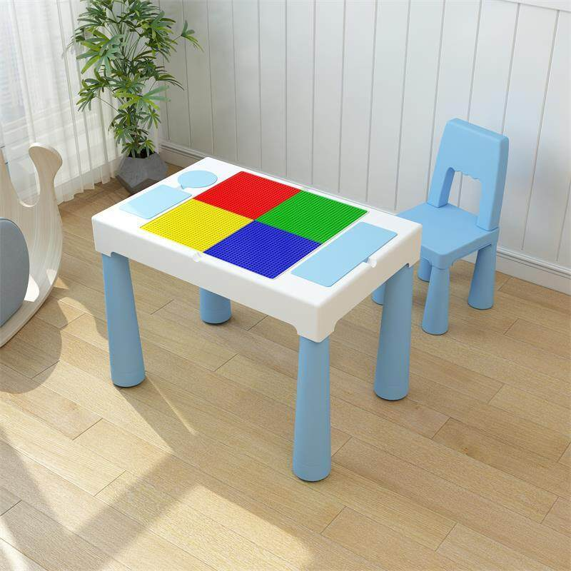 Kids Activity Table Building Blocks and One Chair Set, Sand Table Craft Table, Building Brick Table with Storage