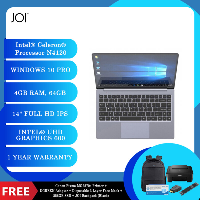 """JOI Book 155 Pro (N4120,4GB+64GB,14"""" FHD,W10Pro) + Canon Pixma MG2570s Printer + UGREEN Mini HDMI Male To HDMI Female Adapter - 20101 + Disposable 3 Layer Face Mask 1 Box/50pcs + 256GB SSD + JOI Backpack [Choose Color] Malaysia"""