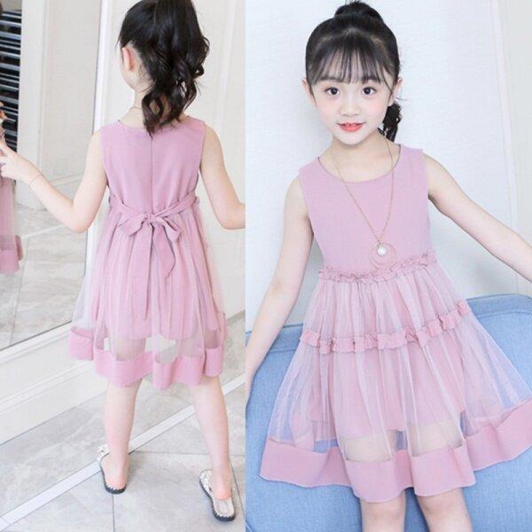 Giá bán 1 Chiếc Đầm Công Chúa Lưới Xếp Nếp Màu Trơn Dễ Thương Không Tay Cho Bé Gái Dành Cho Bé Từ 3-13 Tuổi Đỏ Màu Vàng