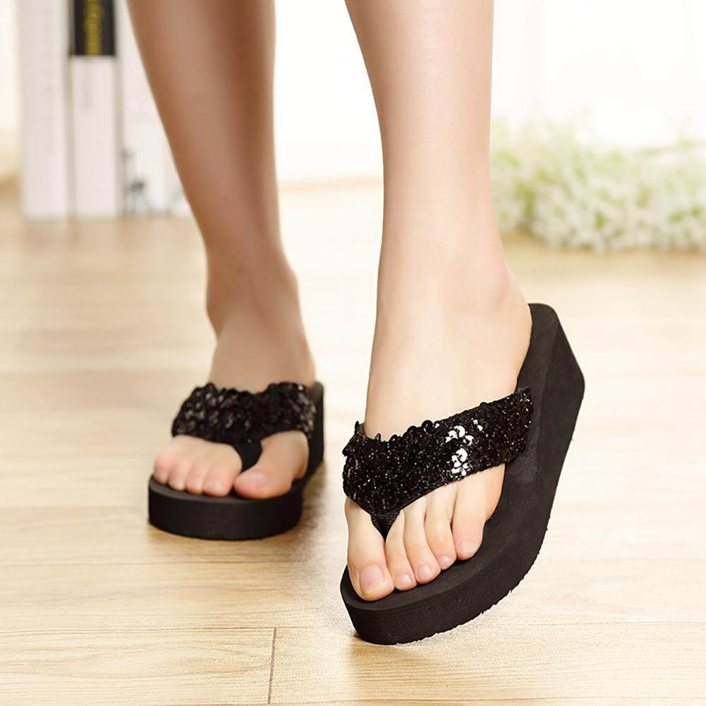 b4fef8a73 2019 Fashion Sequins Women Casual Beach Slippers Flip Flops Platform Women  Wedges Sandals