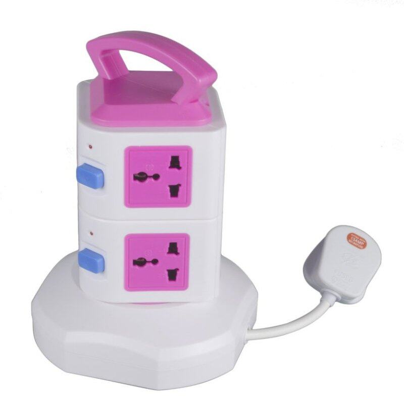 TOP Vertical Multi-socket Two Layers With Doulbe USB Charger Intelligent Socket UK Plug Overload Protection LED Lights Display