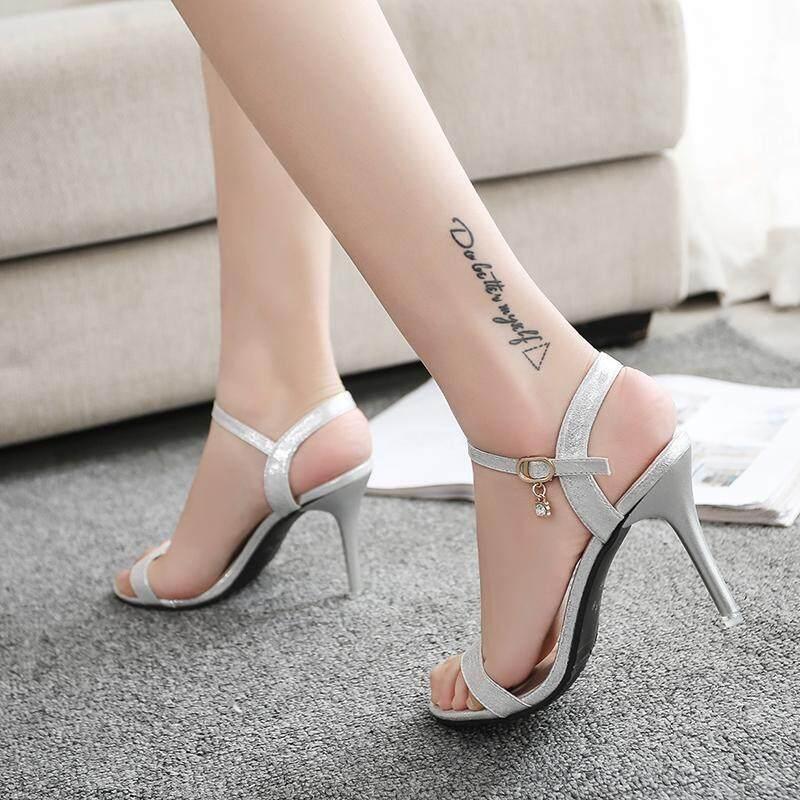 Open Toe Womens Heel Sandals Fashion Straps Sandals Women Pumps High Heels  Shoes Silver a649dd73076d
