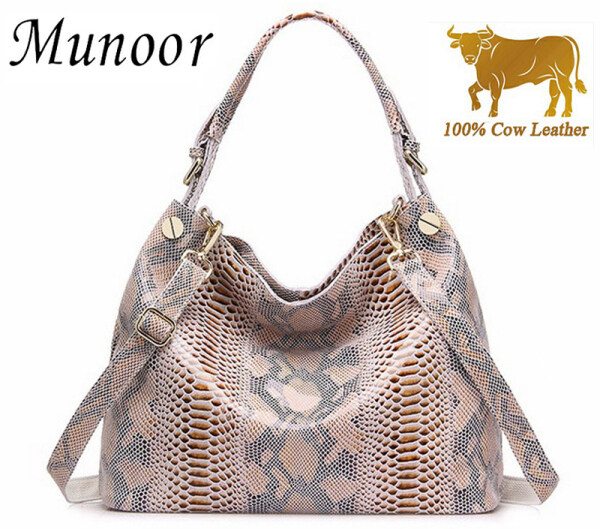 Munoor High Quality Top Grain Genuine Cow Leather Women Shoulder Bag Casual Cross Body Bag Top Handle Bag Tote Bag