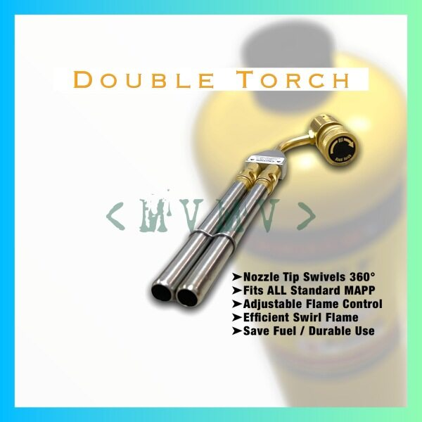 Double Torch Double Barrel Torch Mapp Gas Torch Hand Torch Welding Torch Brazing Soldering Air Cond Copper