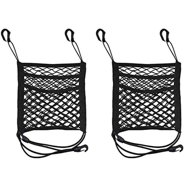 2 Pieces Of Pet Net Barrier, Dog Cart Net Barrier, Rear Seat Net Storage Bag, Net Barrier with Hook