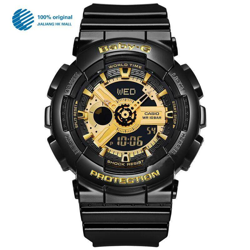 (2 Years Warranty) Original Casio Baby G_BA110 BA-110 Women Sport Digital Watch Duo W/Time 200M Water Resistant Shockproof and Waterproof World Time LED Light Girl Wist Sports Watches BA-110-1A Gold Black Malaysia