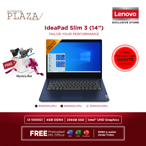 Lenovo IdeaPad 3 14IIL05 81WD00JTMJ 14 FHD Laptop Cherry Red ( I3-1005G1, 4GB, 256GB SSD, Intel, W10, HS ) Malaysia