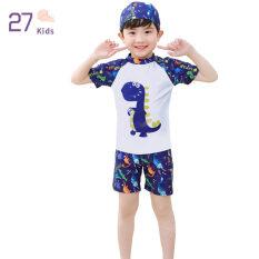 Bộ Đồ Bơi 27Kids Cho Bé Trai, Bộ 3 Chiếc Áo Tắm Xẻ Tà, Quần Đùi Và Mũ Ngắn Tay, Đồ Bơi Lướt Sóng Hoạt Hình