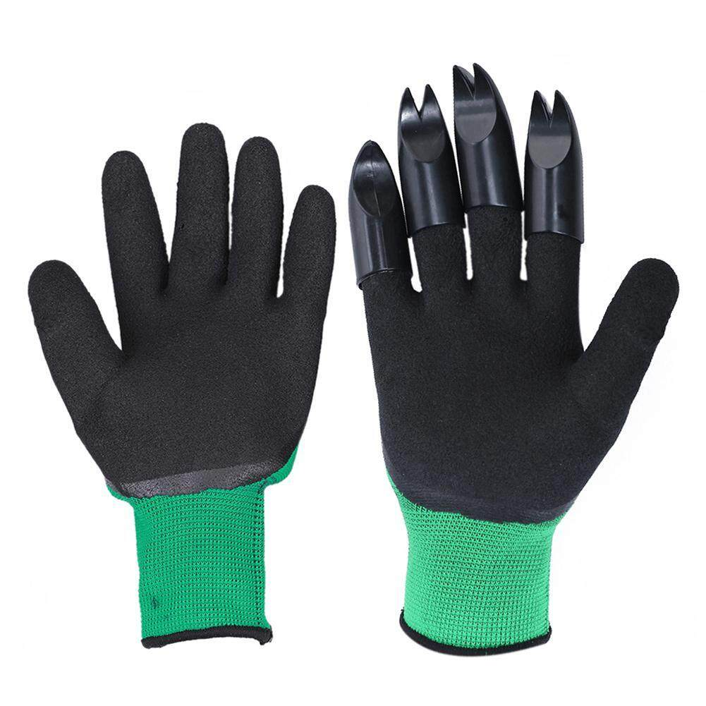 1 Pair Garden Digging Gloves with 4 Right Hand Fingertips Sharp+Fork Claws