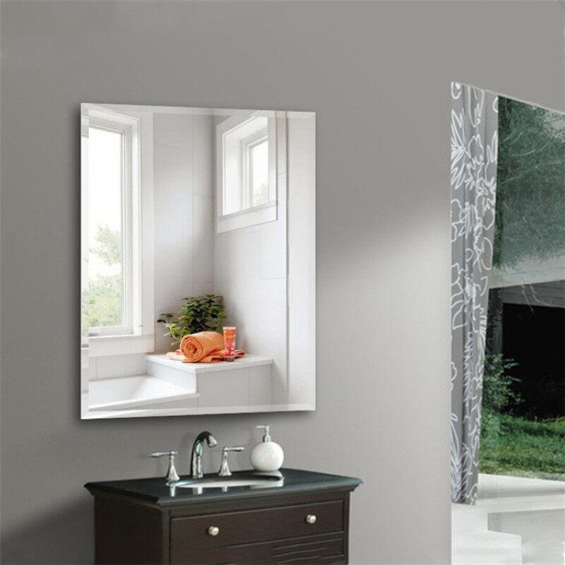 Gương Không Khung Châu Âu Đơn Giản Vát Góc Phải Gương Trang Điểm Gương Phòng Tắm Nhà Vệ Sinh Kính Phòng Tắm Gương Gắn Tường 40x60cm