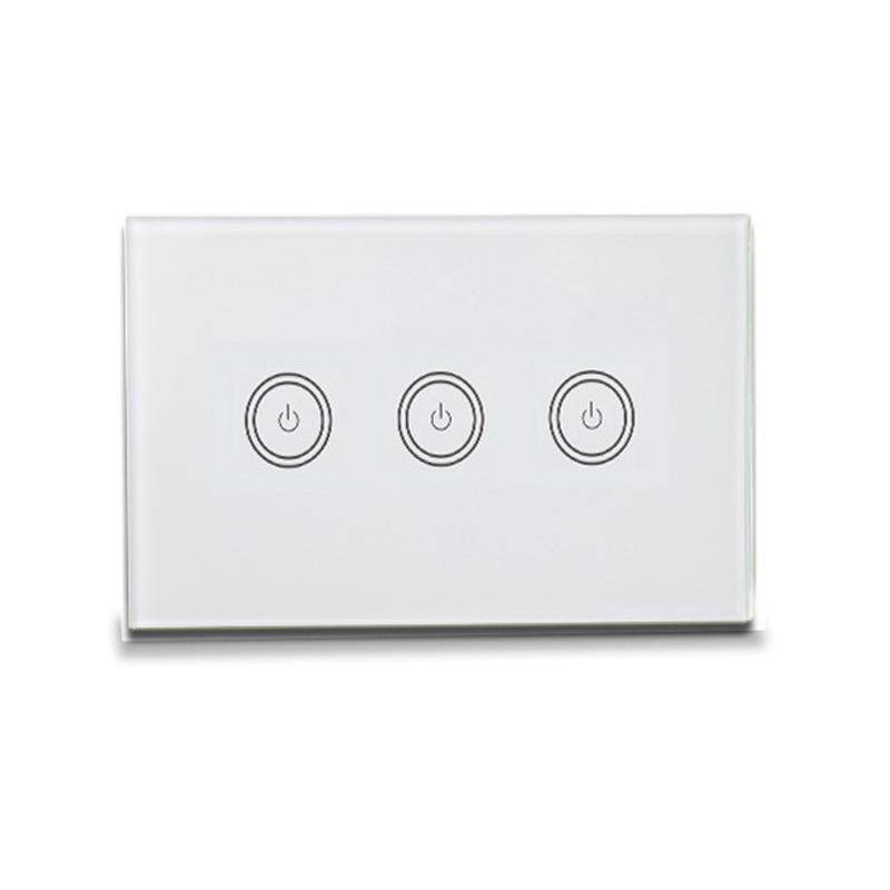 Smart Light Switch 3 Gang Us In-Wall Press Control Wifi Switch Compatible with Alexa Google Assistant Ifttt for Android Ios