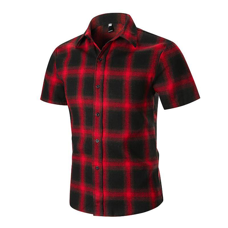 d7dd5ff57ee Summer Plaid Men s Shirts Fashion Blouse Men Beach Leisure Short sleeves  Shirt Mens Clothing Black Red