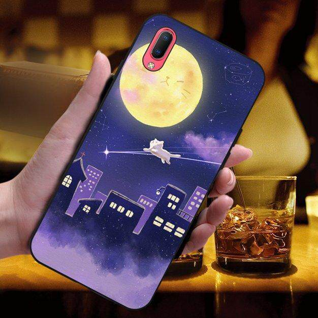 Moon Soft Silicon Black Tpu Phone Back Case Cover For Vivo Y93 By 3thshop.
