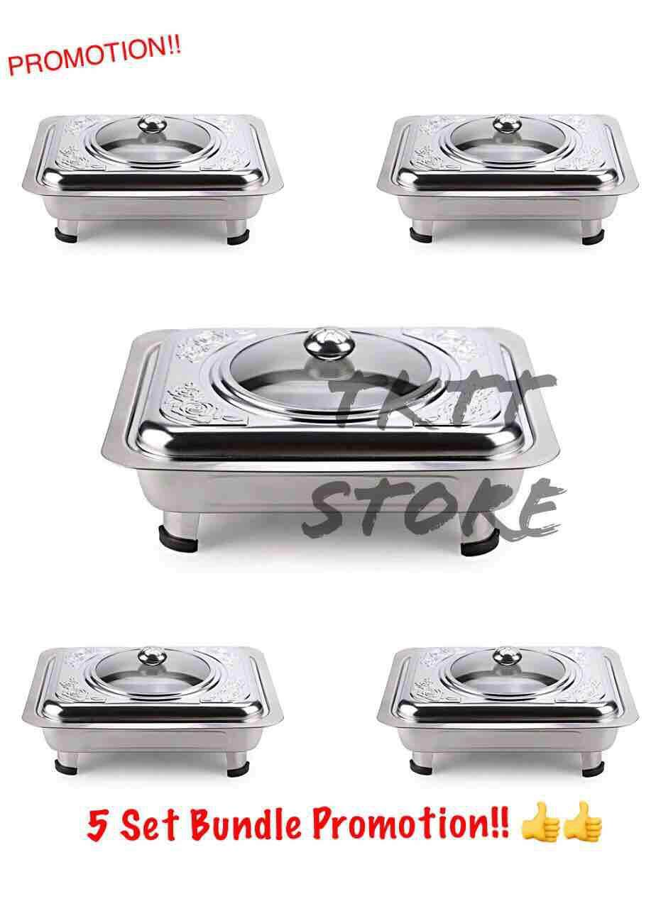 Terrific Tktt 5 Set Stainless Steel Rectangle Embossed Food Tray Glass Lids Stand Food Server Pan Food Display Pan Catering Food Server Buffet Set Interior Design Ideas Clesiryabchikinfo