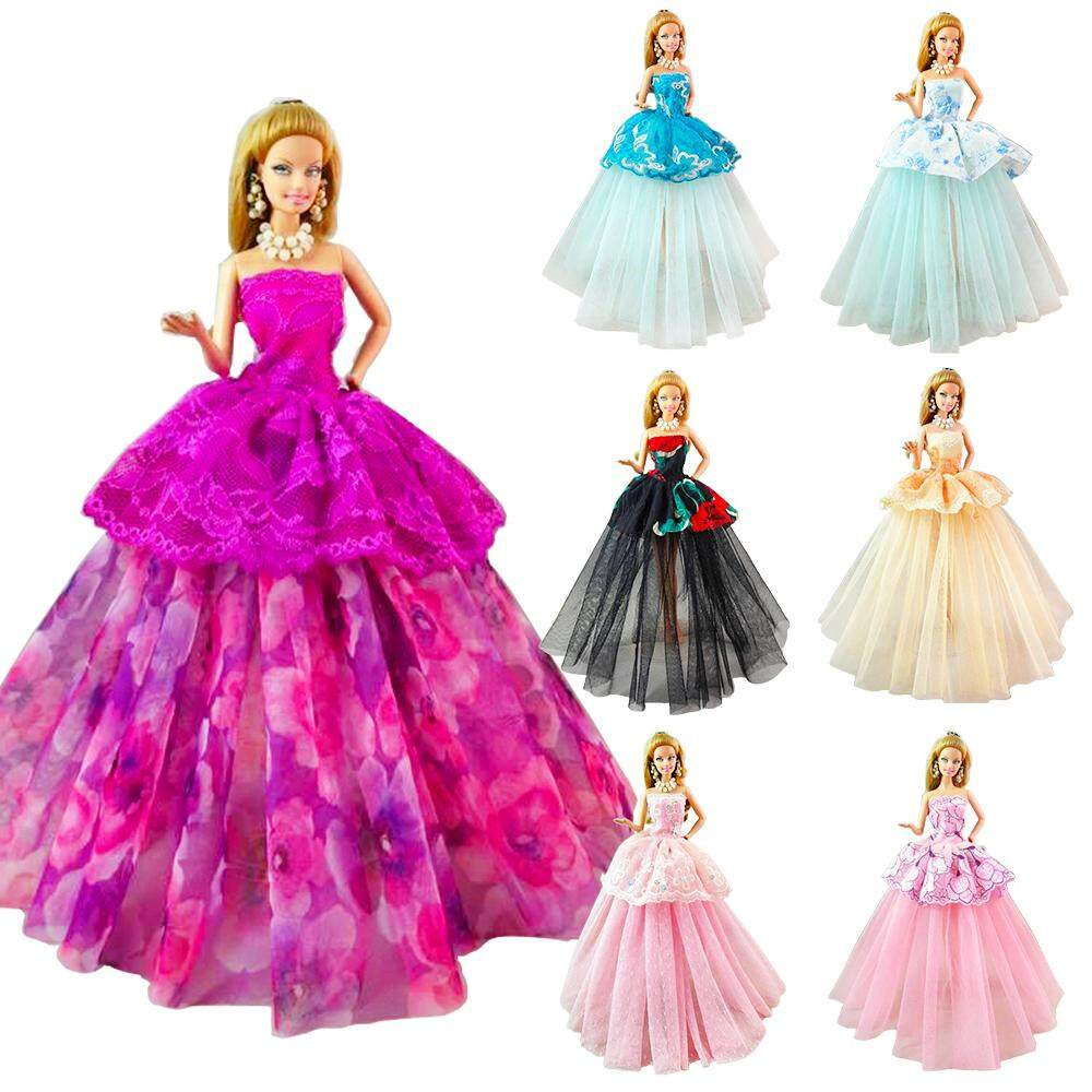 BARWA 5pcs Fashion Mini Dress Handmade Short Party Gown Clothes for 11.5 inch Girl Doll 5 Outfits + 10 Shoes