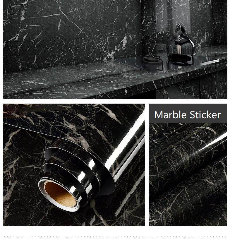 Black Marble Contact Paper Waterproof Self-Adhesive Wallpaper Sticker