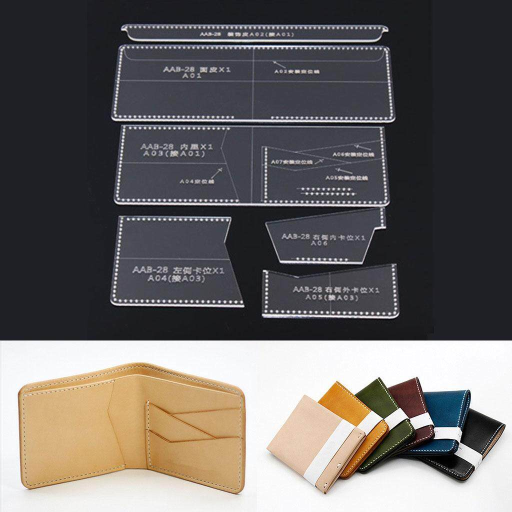 Blesiya 7pcs Clear Acrylic Stencil Template Mould for Leather Wallet Purse Making
