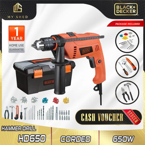 BLACK & DECKER HD650BXH 650W 13mm Hammer Drill With 100pcs Accessories (HD650BXH, HD650)