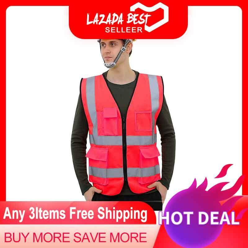 Security Vest, KACOO Multi-Pockets High Visibility Zipper Front Breathable Safety Vest With Reflective Strips