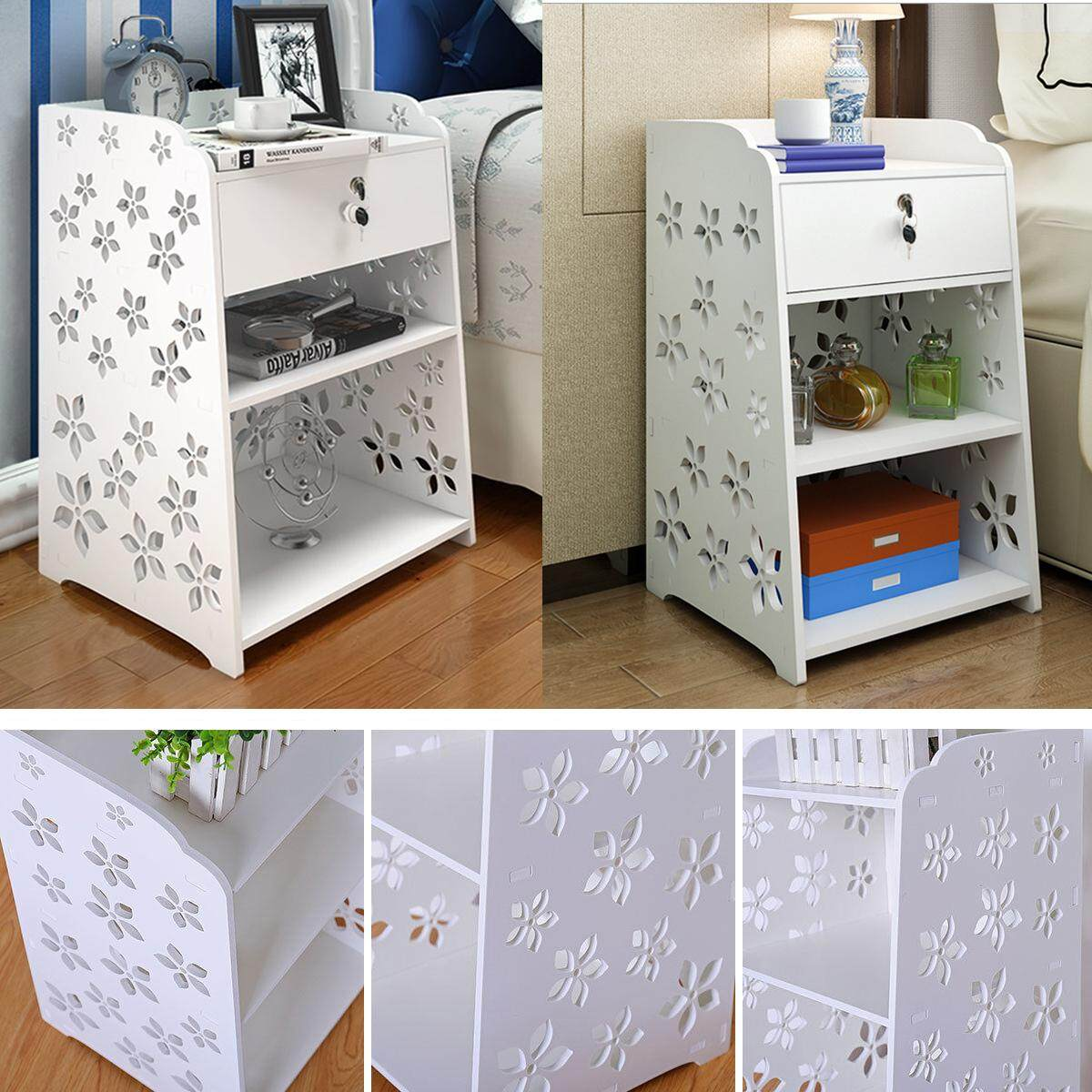 40x30x50cm Modern White Flower Bedroom Bedside Table Rack Cabinet Organizer Night Stand Drawer