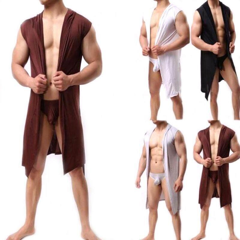 Jay Men เสื้อคลุมอาบน้ำแขนกุดผ้าไหมลื่นชุดนอนเสื้อคลุมคลุมด้วยผ้าเสื้อคลุมอาบน้ำบางเฉียบ.