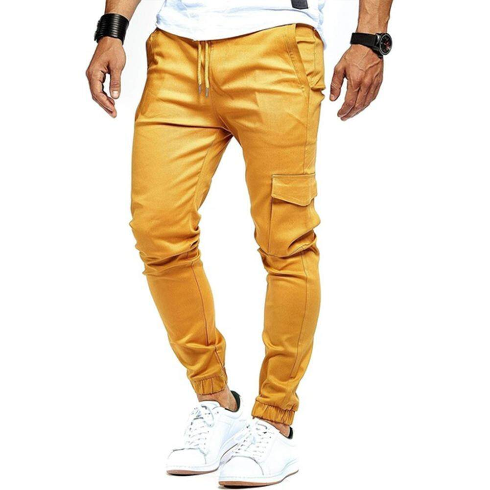 fcfcd57c6e Men Slim Fit Pants Casual Urban Ankle Banded Pencil Jogger Sports Pants  M-XXL
