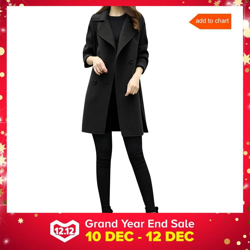 Wool Blend Coat Women Long Sleeve Turn-Down Collar Outwear Jacket Casual Autumn Winter Elegant Overcoat By Sawu.