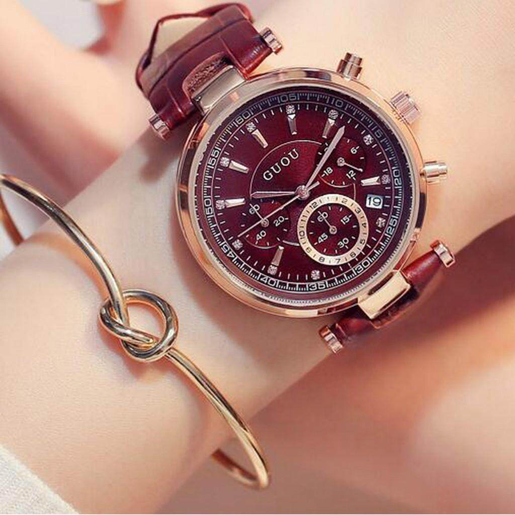 Luxury Woman Watch Brown Auto Date 3 eyes Casual Watch Waterproof Real Six pin Calendar Leather Quartz Ladies Dress Watches Bracelet Girl Gift Clocks Malaysia