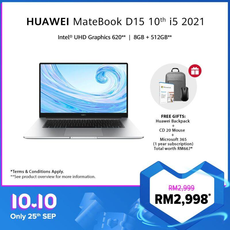 HUAWEI MateBook D15 10th i5 2021 Laptop | 8GB+512GB | FREE Backpack+ Mouse+ Microsoft 365, Free Shipping Malaysia