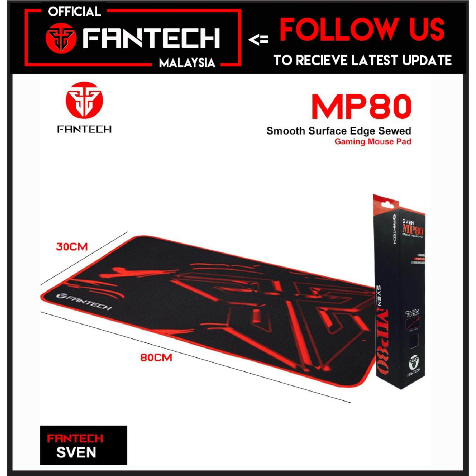 100% Original Fantech SVEN MP80 High Non-Slip Base Gaming Mouse Pad with Edge Sewed (Black mix Red) Malaysia
