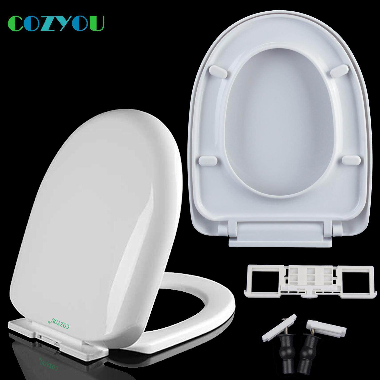COZYOU PP toilet seat U shape D style Slow close Quick-Release  Length: 410mm to 435mm, Width: 335mm to 345mm  Easy Clean toilet lid GBP17251PU