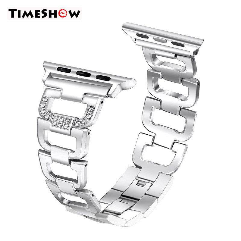 TimeShow Crystal Stainless Steel Bracelet Watch Band Strap for iPhone Watch Series 1/2/3 38MM/42MM Malaysia