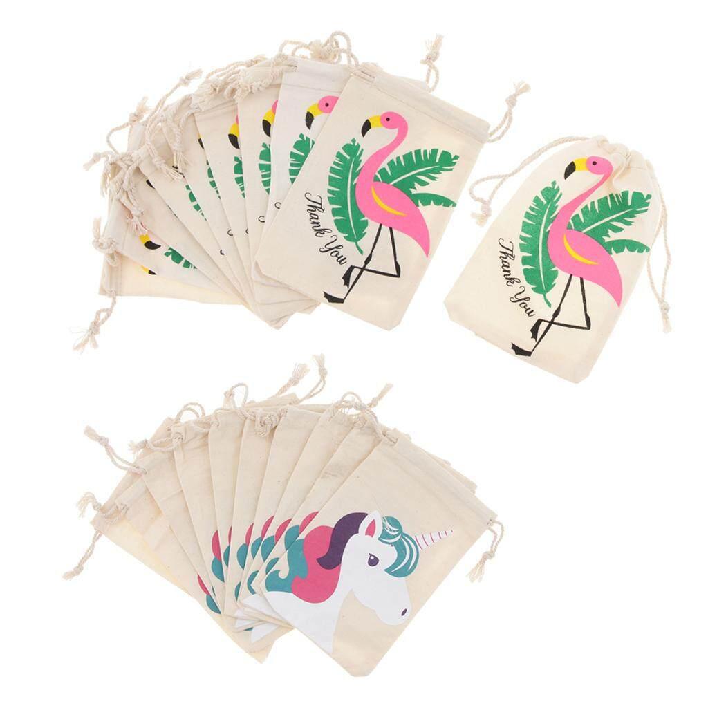 Loviver 20pcs Set Flamingo Unicorn Thank you Cotton Jewelry Pouch Party Gift Bags