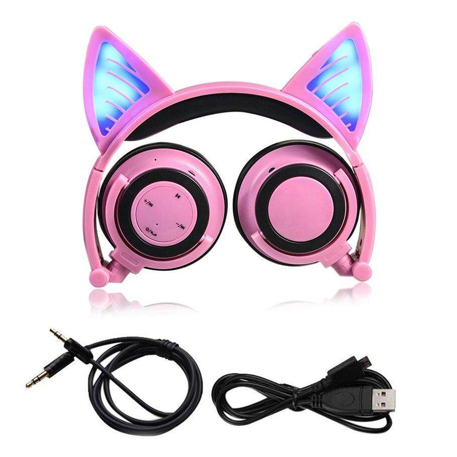 6de92081af1 Hot Deals Cat Ear Bluetooth Headphone Foldable Cosplay Stereo Headset  Earphone With Mic