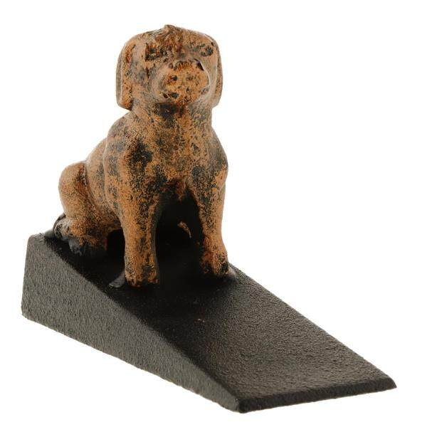 Fityle Lovely Cast Iron Dog Statue Door Stopper for All Floor Surfaces Floor Decor