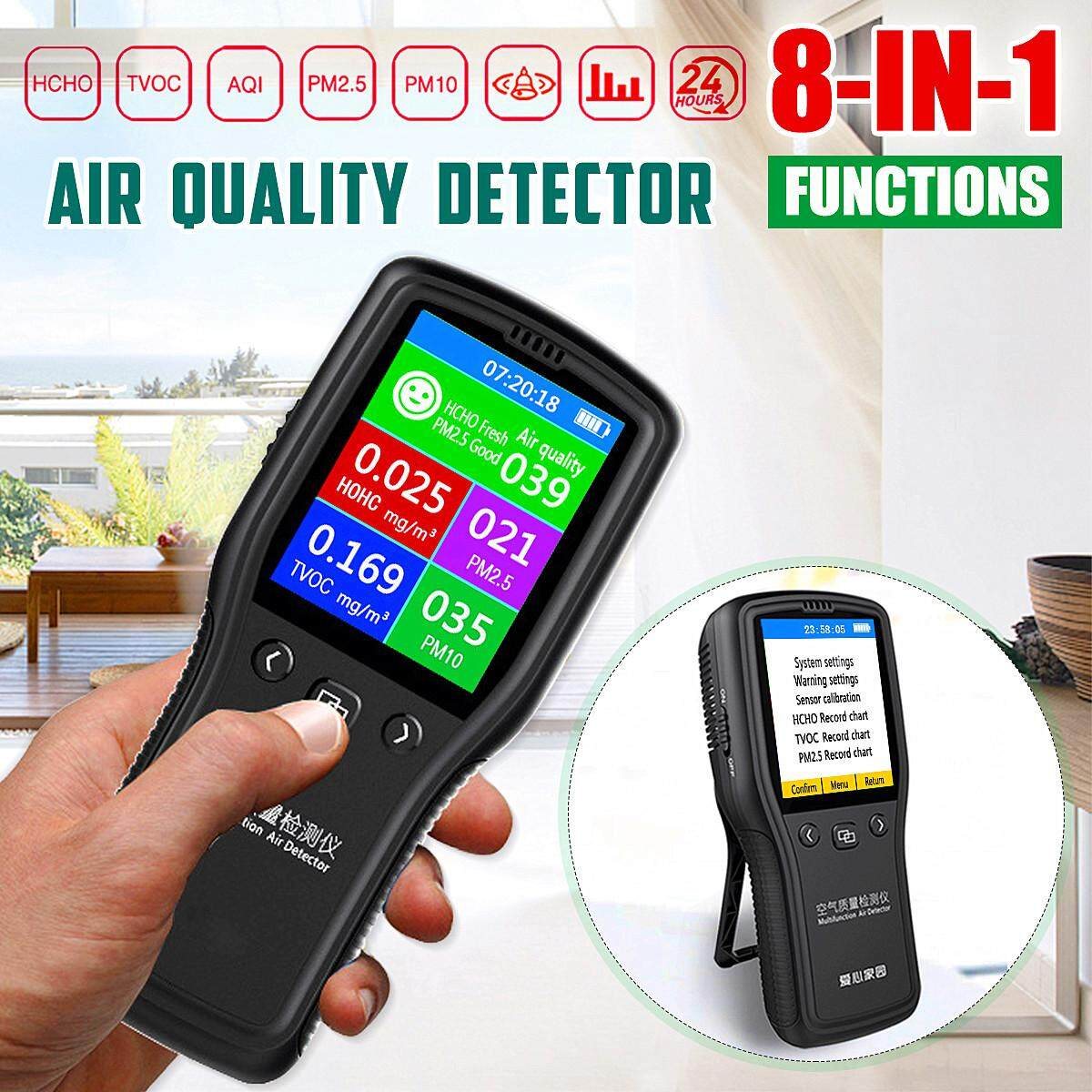 【free Shipping + Super Deal + Limited Offer】8in1 Air Quality Detector Pm2.5 Pm10 Tvoc Hcho Formaldehyde Air Quality Monitor By Autoleader.