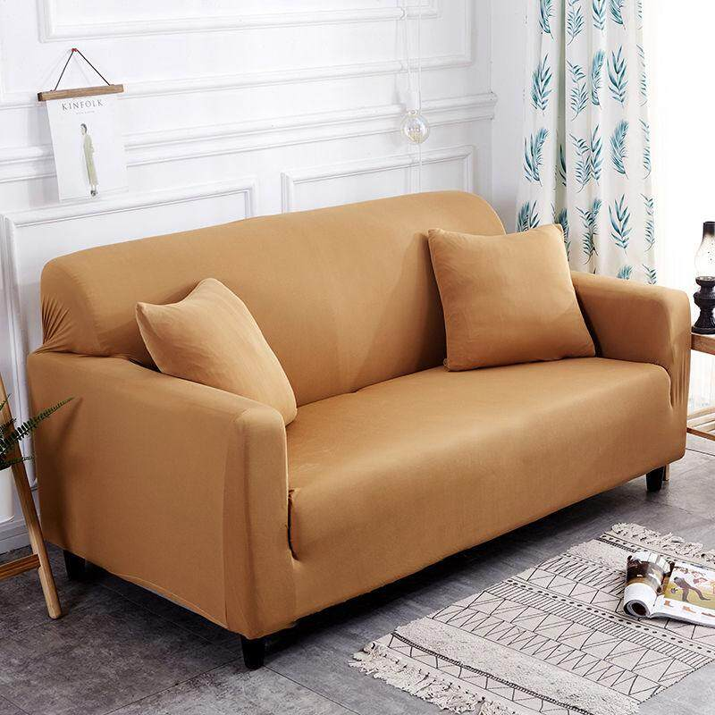 VF Solid Color Slipcovers 1/2/3/4 Seaters L Shape Sofa Elastic Washable Sofa Cover With 1 pillow cover free