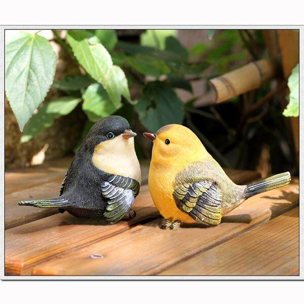 Loviver Pair of Rural Style Emulation Bird Garden Ornament Resin Figurine Home Decor