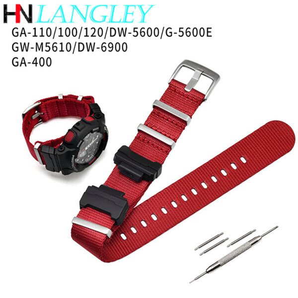 LANGLEY Watch Band Nylon NATO Replacement Watchband for Casio G-Shock GA-110/100/120/150/200/400 GD-100/110/120 DW-5600 GW-6900 Watches AccessoriesBracelet Strap Band Malaysia