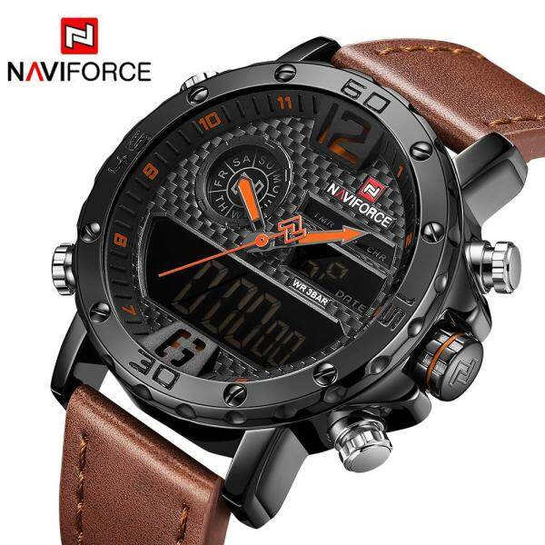 New hot mens watch top brand luxury NAVIFORCE dual display multi-function waterproof quartz watch leather military table relogio masculino clock Malaysia
