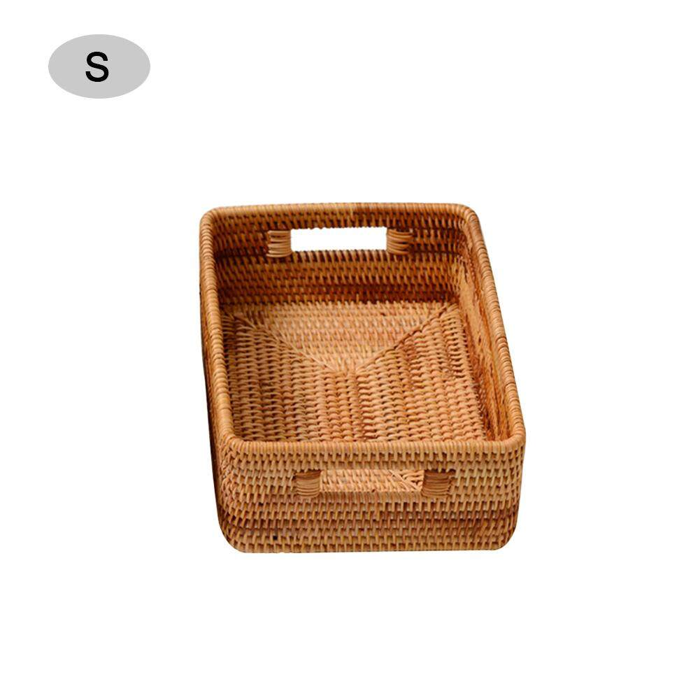 Storage Box Rattan Hand-Woven Desktop Small Wicker Baskets for Shelves