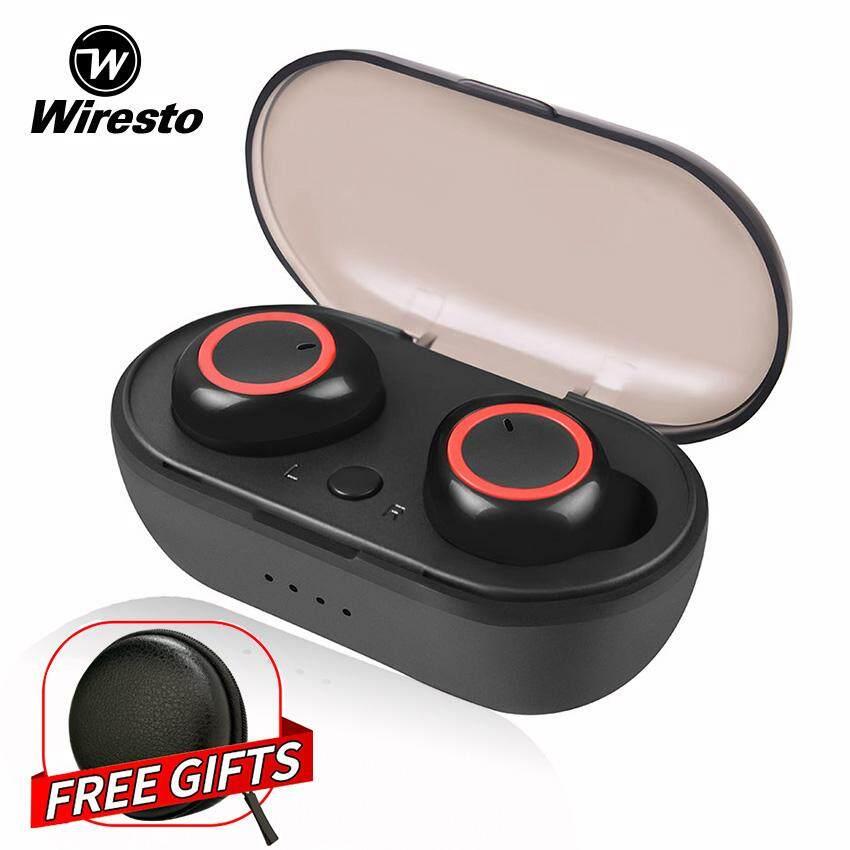 Wiresto True Wireless Earbuds Mini Bluetooth Earphone Stereo Headphone  Bluetooth 5 0 Sport Earpiece Small Invisilble Headset with Microphone Free  Case