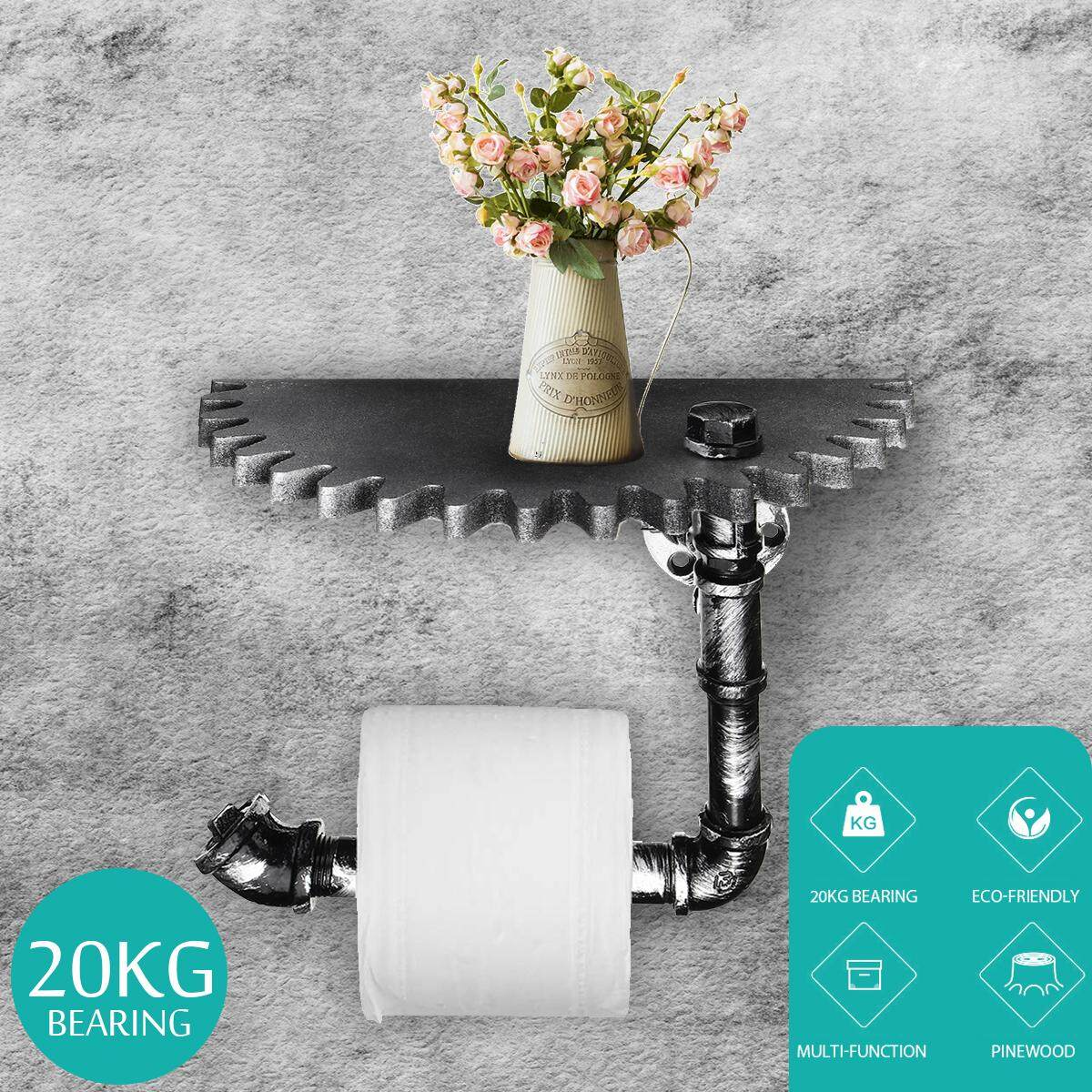 Industrial Urban Iron Pipe Toilet Paper Holder Roller With Wood Shelf Wall Gear
