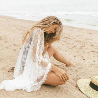 Hot Phụ Nữ Che Lên Ren Kimono Boho Giản Dị Rắn Dài Tay Chuông Sheer Lỏng Lẻo Không Cổ Mùa Hè Ladies Cardigan Bãi Biển Bikini thumbnail